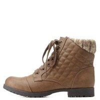 Sweater-Cuffed Quilted Combat Booties