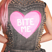 Bite Me Heart Studded Denim Vest