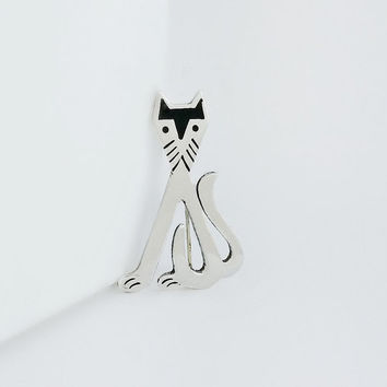 Taxco Mexican Silver Cat Brooch - Silver Cat - Sterling Cat Pin - Vintage Cat Brooch - Mexican Cat Pin - Taxco Jewelry - Black Enamel Cat