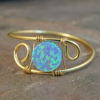 Blue Opal Ring Silver or Gold - Made in Your Size