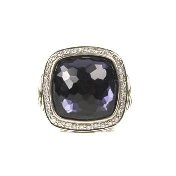 David Yurman Large 17mm Sterling Silver Purple Black Orchid Albion Ring Size 8