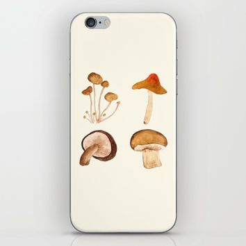 mushroom watercolor painting  iPhone & iPod Skin by Color and Color
