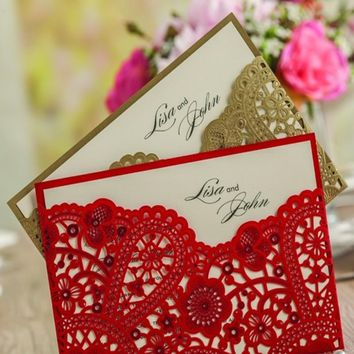 Romantic Wedding Party Invitation Card Envelope Lace Shape Delicate Red Black Yellow Carved Pattern Wedding Decoration Supplies