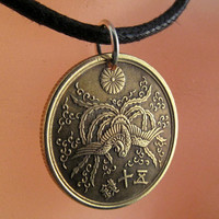 COIN NECKLACE JAPANESE Jewelry. pendant.. 50 sen. phoenix. chrysanthemum. oriental. asian. emperor. No.001125