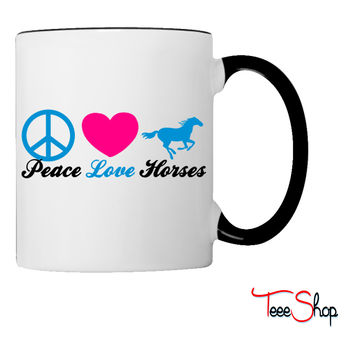 peacelovehorses3color Coffee & Tea Mug