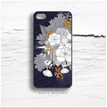 "iPhone 6 Case Navy Floral, iPhone 5C Case Floral, iPhone 5s  ""White Night"" by Iveta Abolina, iPhone 4 Case, White Flower iPhone Cover I167"