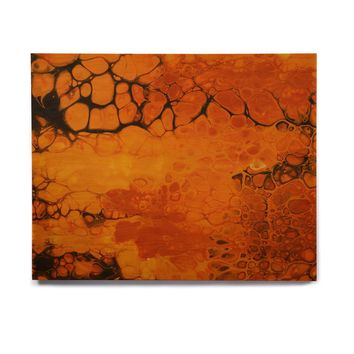 "Carol Schiff ""Golden Glow"" Gold Black Abstract Contemporary Painting Mixed Media Birchwood Wall Art"