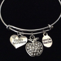 Teacher Retirement and Apple Charm on a Silver expandable bangle Bracelet Great Teacher Appreciation Gift
