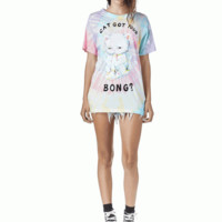 "Kick back and relax in the Cat Bong Tie Dye Top by Unif Clothing. This extra soft stretch knit short sleeve top, featuring tie-dye throughout with Cat image & ""Cat Got Your Bong"" Written at front, crew neckline, super cool reverse construction. Each top ha"