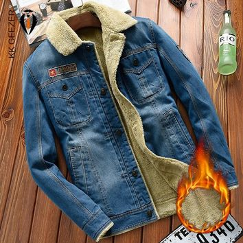 Winter Cowboy Blue Jacket Men Denim High Quality Fleece Thick Warm Fashion Casual Cotton Coat Warm Parka Zipper Plus Size 4XL