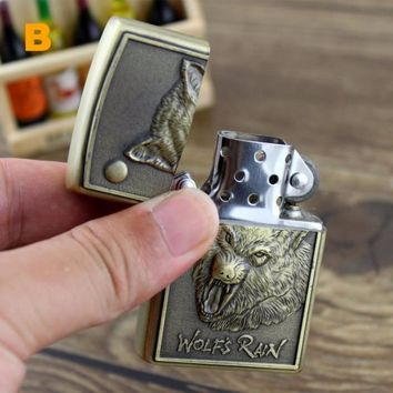 Zinc Alloy Windproof Lighter with Wolf Totem Relief