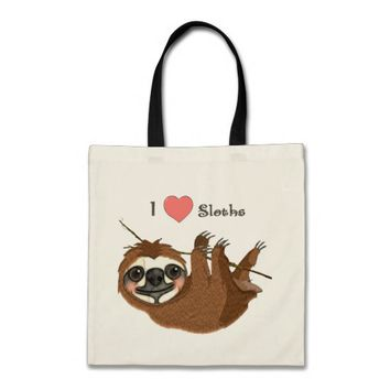 I Heart Sloths Baby Animals Tote Bag