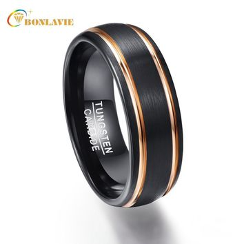 Party Ring Exquisite Rose Gold Side Men Rings Real Tungsten Carbide Wedding Bands Anillos para hombres Male Ring