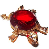 Turtle Brooch Red Art Glass & Clear Rhinestones Gold Metal Amphibian Vintage