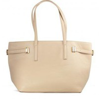 Leather Look Nude Tote with Zip Closure & Metal Buckles