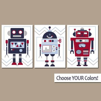 ROBOT Wall Art, Robot CANVAS or Print, Robot Decor, Robot Nursery Pictures, Red Blue Robot Pictures, Big Boy Bedroom Decor, Set of 3 Artwork
