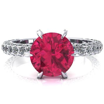 Vanessa Round Ruby 6 Claw Prongs 3/4 Pavé Eternity Engagement Ring