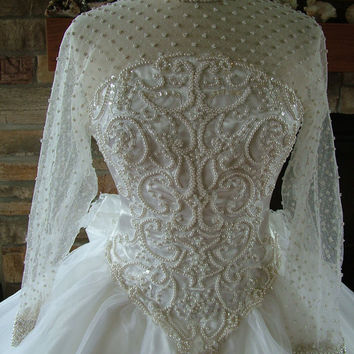 Wedding dress vintage pearl beaded bridal by RetroVintageWeddings