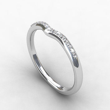 Diamond ring, Wedding band, White Gold, Thin ring, Thin diamond ring, White gold ring, curved band, eternity ring