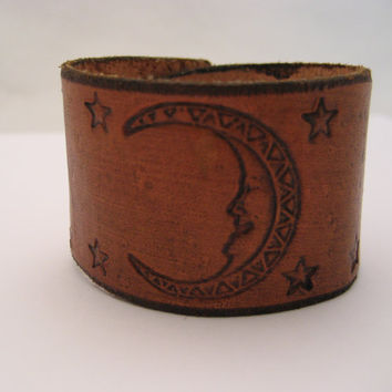 Moon Bracelet Moon Leather Bracelet Brown Leather Cuff  Real Leather Hand Tooled Snap on Leather Jewelry Moon Jewelry Boho Bracelet