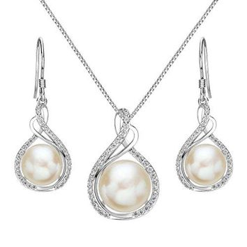SHIP BY USPS:  925 Sterling Silver CZ Cream Freshwater Cultured Pearl Infinity Bridal Necklace Hook Earrings Set Clear