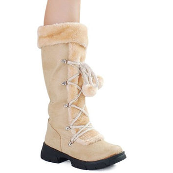 Mid Calf Snow Boots With Zipper and Lace-Up Design
