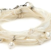 "Ettika ""Vintage Ribbon"" Cream Wrap Bracelet Silver Pearl Pendant Necklace s: Jewelry: Amazon.com"