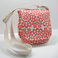 Red Messenger Bag, Small Messenger Bag, Cross Body Bag, Contemporary Floral Print, Coral Red Purse, Amy Butler Print, Ready to Ship