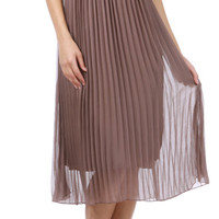 Corset Pleated Maxi Dress Mocha