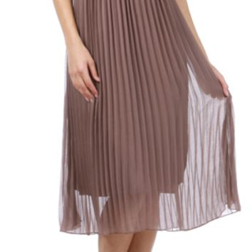 Corset Pleated Maxi Dress Mocha- LAST ONE