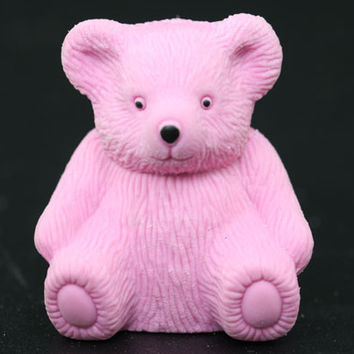 Pink Teddy Bear Eraser and Sharpener