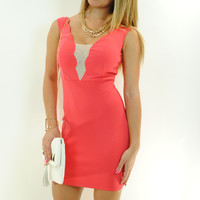 (ant) Wave plunge mesh coral dress