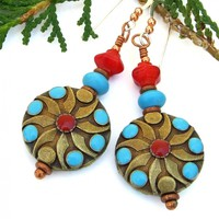 Southwest Turquoise and Red Earrings, Magnesite Coral Brass Handmade Boho Chic Jewelry for Women
