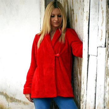 Red womens jacket,soft jacket,cozy jacket,with button,winter,warm,Home,Wellsoft