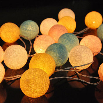 35 Bulbs Light Pastel Tone - Cotton Ball String  Lights for Home Decoration,Wedding,Party,Bedroom,Patio and Decoration