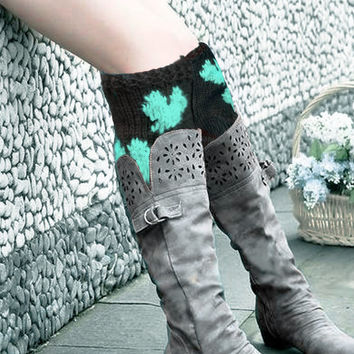 Fall Legwear, Heart Knit Boot Cuffs, Mint Black Heart Legwarmers, Knitted Boot Cuffs, Leg warmers, Boot Socks, Socks, Winter Accessories