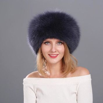 Natural Fox Fur Cap For Women Beanies Russian Winter Fur Hat With Tail 100% Real Fox Fur Hat Black White Silver Fox
