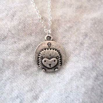 "Cute Kawaii Hedgehog Mushroom Woodland Silver 18"" Delicate Circular Necklace NEW"