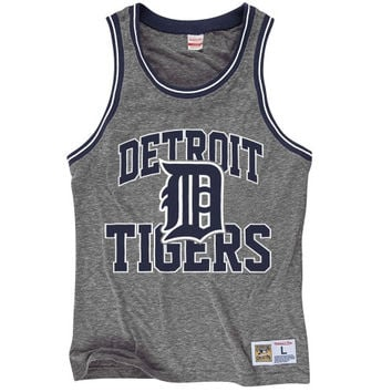 Detroit Tigers Mitchell & Ness Strike Three Tri-Blend Tank Top – Gray