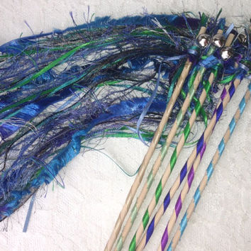 Peacock Fun Fur Wands, Mermaid Birthday Party Favors, Wedding Send Off Streamers with Bell, Photo Prop, Blue, Green and Purple
