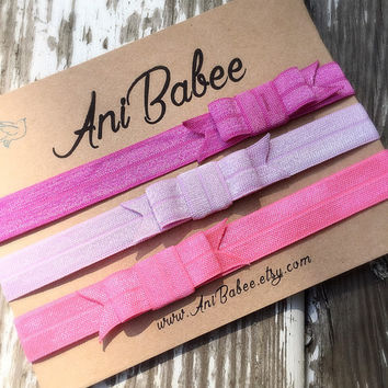 Baby bow headbands, baby headband set, pink headband set, infant, toddler and teen girl headbands