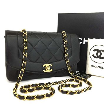 CHANEL Quilted Matelasse Diana 22 CC Logo Lambskin Chain Shoulder Bag / qHCE x
