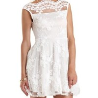 White Floral-Embroidered Mesh Skater Dress by Charlotte Russe