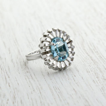 Vintage Blue Glass Stone Ring -  Retro Signed Sarah Coventry  Winsome 1970s Silver Tone Adjustable Costume Jewelry / Aquamarine Baby Blue