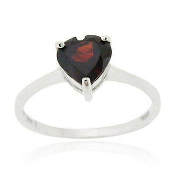 Sterling Silver Garnet Solitaire Heart Ring