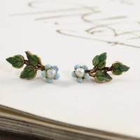 Enamel Flower Climber Earrings, Antique 14k & Pearl, Something Blue Flower Forget Me Not, Bohemian Bridal Bridesmaid Friendship Jewelry Gift