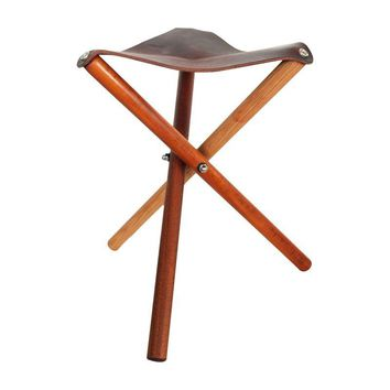 Pre-owned Blanc Creatives Hand-Made Leather Folding Stool