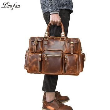 Vintage Genuine Leather Briefcase Men Big Cowhide Business Laptop work casual Cow Leather multifunctional Messenger Bag