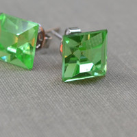 Peridot Rhinestone Post Earrings, Vintage Square Rhinestone, Green Swarovski Crystal, Bridesmaid Earrings