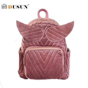 DUSUN Wings Shoulder Bag Women Retro Velvet Girl'S Backpack Fashion College Wind Kawaii Backpacks High Capacity  Bolsa Feminina